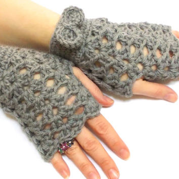 Fingerless Gloves, Brown, Crochet fingerless gloves, Tie Gloves, Perforated Pattern, Crochet tie, Boho glove mittens, Spring gloves