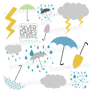 Weather Digital Clip Art - INSTANT DOWNLOAD - Set of 12 Clip Art Elements - clouds, lightening, rain, umbrella clip art