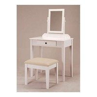 White Bedroom Vanity Table with Tilt Mirror & Cushioned Bench