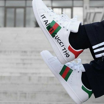 Adidas x Gucci :Trending Letter Fashion Casual Sports Shoes