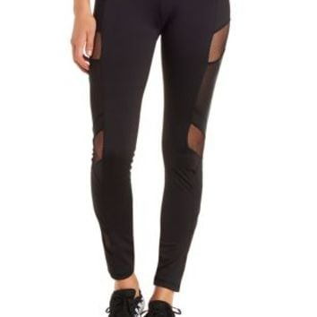 Black Mesh Cut-Out Active Leggings by Charlotte Russe