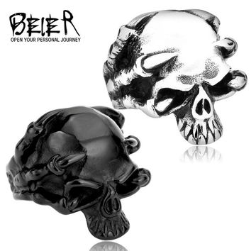 Beier new store 316L Stainless Steel high quality Men's Gothic Punk Claw Skull Skeleton Rings