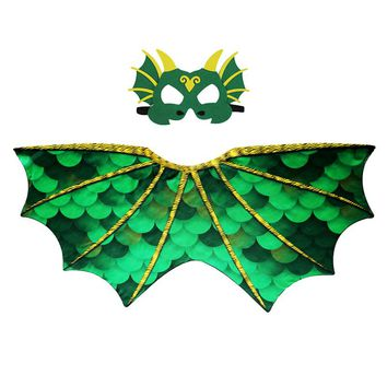 D.Q.Z 120*70 Cm Green Dino Wing Mask Cosplay Costume For Kids Dinosaur Wing Dance Show Anime Costume Girls Christmas Gifts Toy