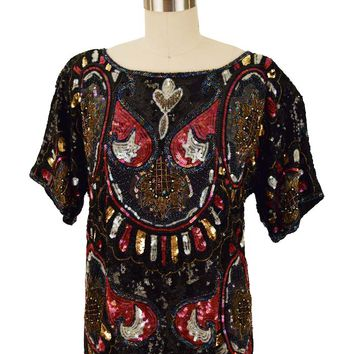 80s Silk Beaded Sequined Top