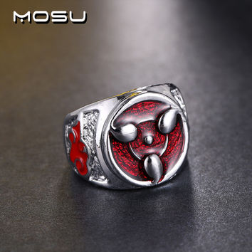 Size 9 Hot Anime Naruto Sharingan Rings Can Dropshipping Metal  environmental Jewelry Nice Gift