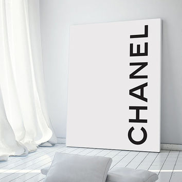 Coco Chanel Logo Poster - PRINTABLE FILE. Minimal Monochrome Chanel Poster. Coco Chanel Fashion Print. Dorm Room Wall Art. Girly Print.