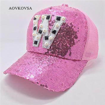 2017 Fashion Women Casual Letter W Sequins Baseball Cap And Girl Summer Pearl Snapback Hat