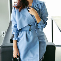 Blue long trench coat, women long jacket blazer outwear, ribbon coat