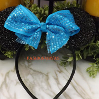 Minnie Mouse Ears Headband Black Sparkle Aqua blue teal  Bow Mickey Mouse Ears, Disneyland, Disney World, Holiday Mouse Ears