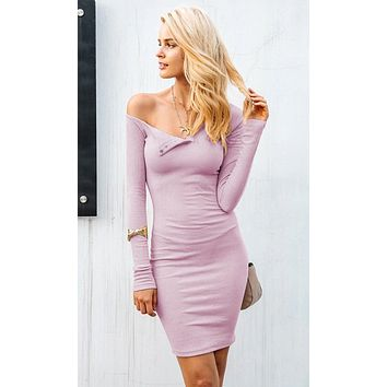 Moving Images Pink Long Sleeve Off The Shoulder Snap Henley Bodycon Mini Dress - 4 Colors Available
