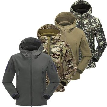 Military Tactical Jacket Lurker Shark Skin Soft Shell men V5 Windbreaker Army Camouflage Waterproof Hooded Camo Hunting Clothes