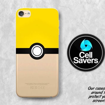 Instinct Pokeball Clear iPod 5 Case iPod 6 Case iPod 5th Generation iPod 6th Generation Rubber Case Gen Clear Case Yellow Pokeball Pokemon