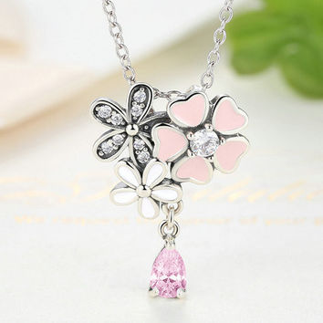 Sterling Silver Pink Heart Blossom Cherry Flower Pendant Necklace