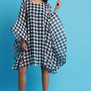 Checker Oversized Bell Sleeves Cold Shoulder Shift Dress