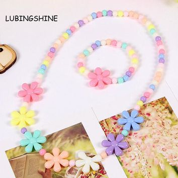Candy Color Beads Gift for Child Flower Colorful Necklace Bracelets Princess Baby Girl Jewelry Set Kid Choker Accessories T137