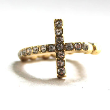 Gold Cross Ring, Cross Sideways Ring, Bling, Curved, Thin Cross Ring, Stretch, Adjustable, Pave, Knuckle Ring, Rhinestone, Crystal