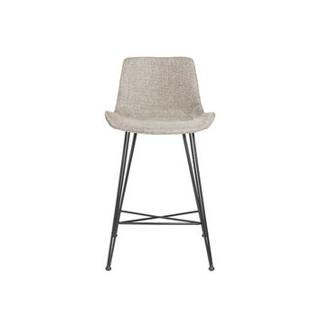 Ura-C Counter Stool in Light Gray Fabric with Matte Black Legs