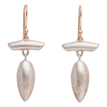 Ted Muehling Silver T-Bar Acorn Earrings