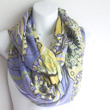 Bohemian Floral scarf, Spring scarves, Light weight scarf, Oblong scarf, Infinity scarfs, Lilac scarf, Aztec scarfs
