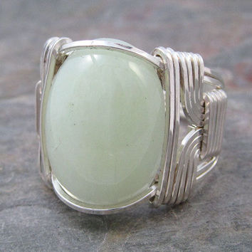 New Jade Cabochon Sterling Silver Wire Wrapped Ring ANY size