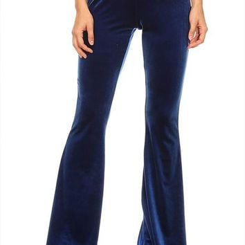 fitted high waist velvet flare pants with elastic band (more colors)
