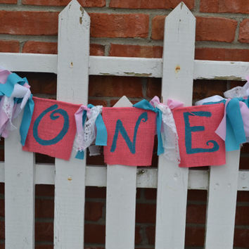 One High chair banner pink, white and aqua 1st birthday photo prop boy birthday decor cake smash prop Ready to Ship