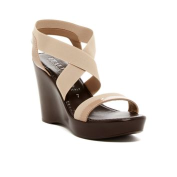 Women's Nude Leather Platform Wedge Sandal