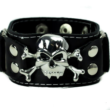 Skull and Cross Bones Metal Wristband Vinyl Bracelet Metal