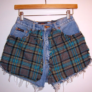 Blue Flannel High Waisted Denim Shorts