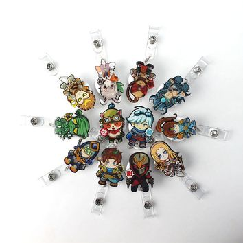 12PC  Anime hero Retractable Pull Badge Reel 2017 New Card Clip Mini Cartoon  ID Badge Name Tag Card For school Office Supplies