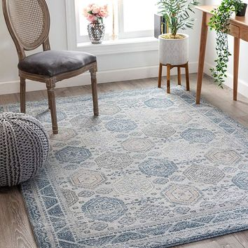2803 Blue Panel Design Oriental Area Rugs