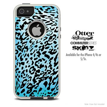 The Hot Turquoise Leopard V4 Skin For The iPhone 4-4s or 5-5s Otterbox Commuter Case