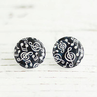 Musical Notes Earrings, Treble Clef Posts, Black and White Posts, FREE shipping