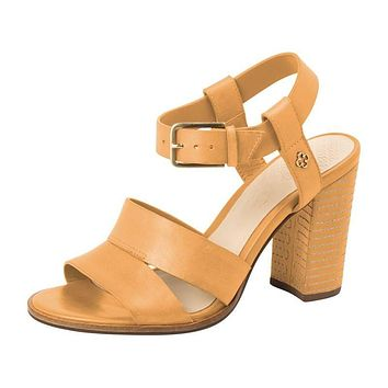 Leather Sandal Block Heel Almond - Capodarte