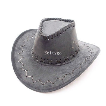 New Fasion Unisex Faux Suede Leather Cowboy Hat Wide Brim Western Outback Sun Hats 11 Colors A1