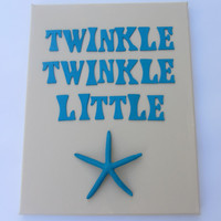 Beach Nursery Art - Starfish Canvas - Twinkle Twinkle Little Star - Turquoise