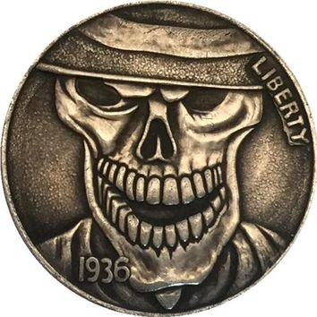 Hobo Nickel 1936 D 3 LEGGED BUFFALO NICKEL COIN RARE CARVED
