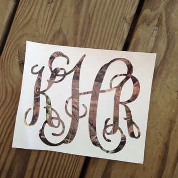 Monogram Camo Vinyl Decal Car Window In From ChickadeesDesigns - Camo custom vinyl decals for trucks