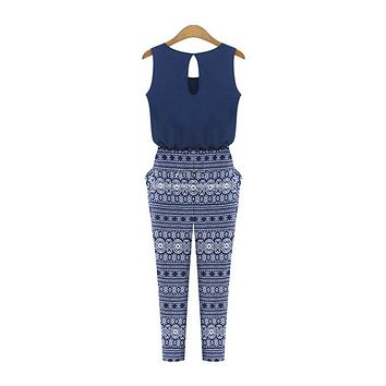 Summer Women Fitness Print Sleeveless Jumpsuits Overalls Fashion Loose Slim Rompers Sexy Bodysuits Playsuits