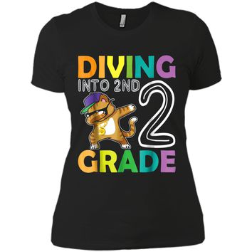 Cat Dabbing Diving Into 2ND Grade  First Day Of School Next Level Ladies Boyfriend Tee