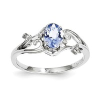 Sterling Silver Genuine Oval Tanzanite & Diamond Ring