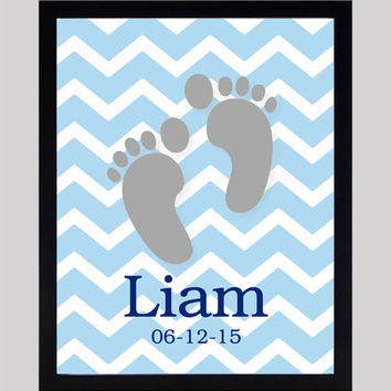 Baby Foot Print with Name and Date, CUSTOMIZE YOUR COLORS 8x10 Prints, Birth Stats, nursery decor nursery print art baby room decor