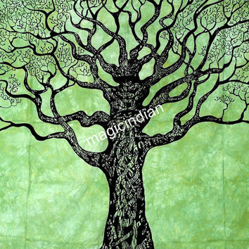 Green Tree of life wall hanging, Hippy Hippie Mandala Wall Hanging, Wall Decore Art, Tree of life Table Cover Runner, Tree Wall Tapestry