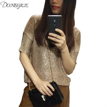 Women Pullover Sequined knit Sweater Short Sleeve Tops O-neck gold Lurex See-through Loose Casual Girls Top Knit Shirt