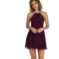 Kylie- Plum Homecoming Dress