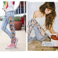 Vintage Woman Side Bow Cutout Ripped Denim Sexy Jeans Jeggings Punk Trousers New