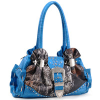 Mossy Oak Croco Studded Camouflage Bag w/ Rhinestone Buckle Color: Camouflage/Turquoise Trim