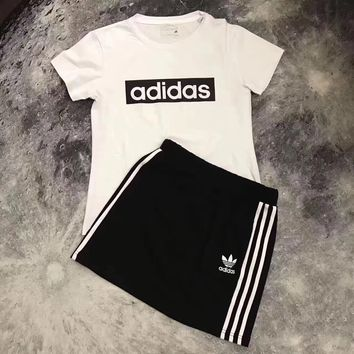 Adidas Women Casual Short  Sleeve Top Skirt Set Two-Piece