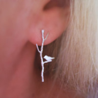 Bird on Twig Earrings Silver Sparrow Branch Lovebirds Nature