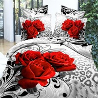 3D Flower Bedding Set Super King Queen Size Spring Bed Linen/ Bed Sheet Set (1pcs Quilt +1pcs Sheet+Pillow covers 2 Pcs) Bed set